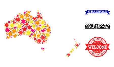 Mosaic map of Australia and New Zealand designed with colored flat stars, and grunge textured stamps, isolated on an white background.
