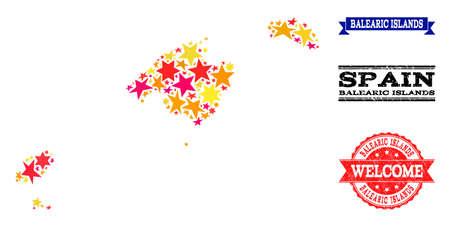 Carte en mosaïque des îles Baléares conçue avec des étoiles plates colorées et des timbres texturés grunge, isolés sur fond blanc. Abstraction géographique de couleur vectorielle de la carte des îles Baléares avec du rouge,