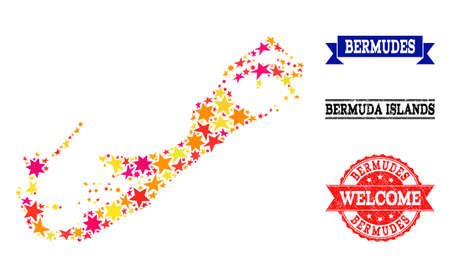 Mosaic map of Bermuda Islands formed with colored flat stars, and grunge textured stamps, isolated on an white background. Vector colored geographic abstraction of map of Bermuda Islands with red,