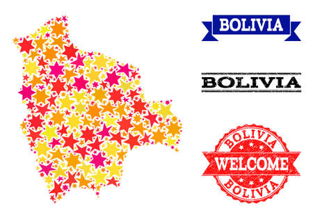 Mosaic map of Bolivia created with colored flat stars, and grunge textured stamps, isolated on an white background. Vector colored geographic abstraction of map of Bolivia with red, yellow,