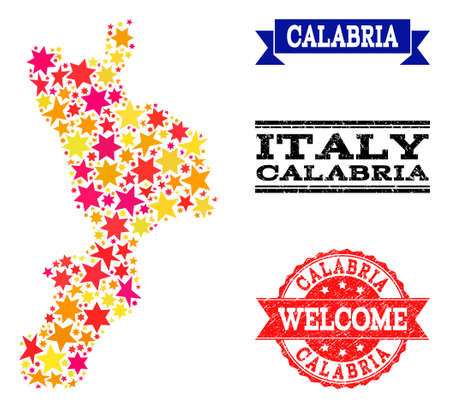 Mosaic map of Calabria region designed with colored flat stars, and grunge textured stamps, isolated on an white background. Vector colored geographic abstraction of map of Calabria region with red,