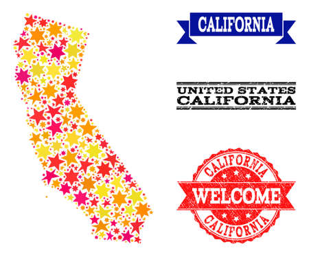 Mosaic map of California designed with colored flat stars, and grunge textured stamps, isolated on an white background. Vector colored geographic abstraction of map of California with red, yellow,