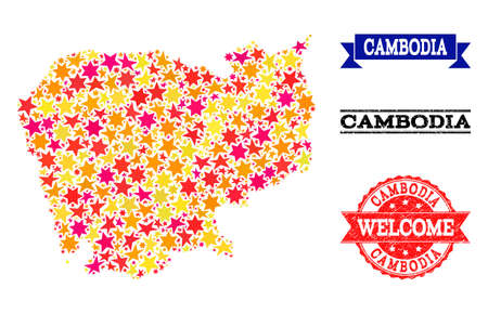 Mosaic map of Cambodia designed with colored flat stars, and grunge textured stamps, isolated on an white background. Vector colored geographic abstraction of map of Cambodia with red, yellow, Çizim