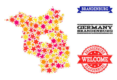 Mosaic map of Brandenburg State formed with colored flat stars, and grunge textured stamps, isolated on an white background.