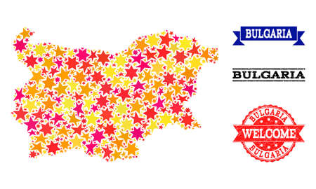 Mosaic map of Bulgaria formed with colored flat stars, and grunge textured stamps, isolated on an white background. Vector colored geographic abstraction of map of Bulgaria with red, yellow,
