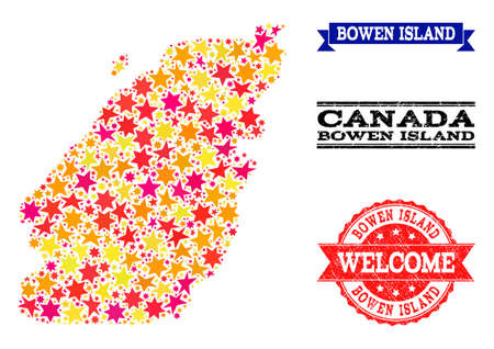 Mosaic map of Bowen Island designed with colored flat stars, and grunge textured stamps, isolated on an white background. Vector colored geographic abstraction of map of Bowen Island with red, yellow,