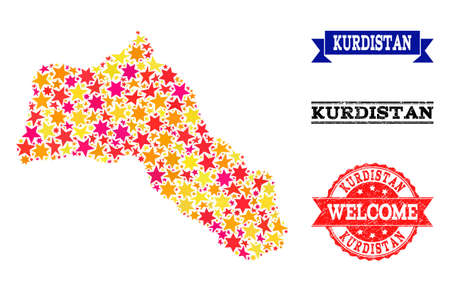 Mosaic map of Kurdistan composed with colored flat stars, and grunge textured stamps, isolated on an white background. Vector bright geographic abstraction of map of Kurdistan with red, yellow,