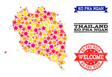 Mosaic map of Ko Pha Ngan formed with colored flat stars, and grunge textured stamps, isolated on an white background. Vector colored geographic abstraction of map of Ko Pha Ngan with red, yellow, Illustration