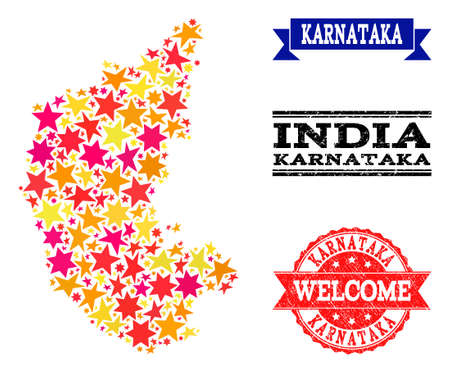 Mosaic map of Karnataka State created with colored flat stars, and grunge textured stamps, isolated on an white background. Vector colored geographic abstraction of map of Karnataka State with red,