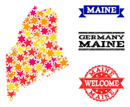 Mosaic map of Maine State created with colored flat stars, and grunge textured stamps, isolated on an white background. Vector colored geographic abstraction of map of Maine State with red, yellow,
