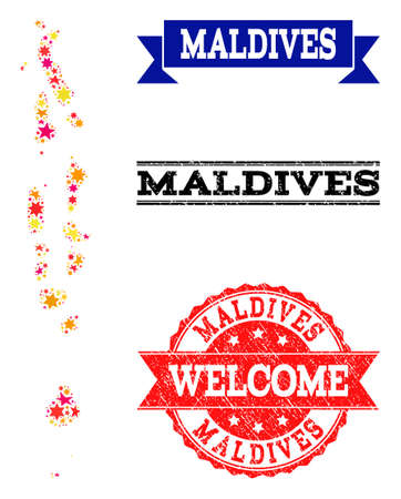 Mosaic map of Maldives formed with colored flat stars, and grunge textured stamps, isolated on an white background. Vector bright geographic abstraction of map of Maldives with red, yellow,