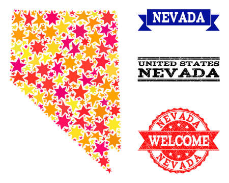 Mosaic map of Nevada State designed with colored flat stars, and grunge textured stamps, isolated on an white background. Vector colored geographic abstraction of map of Nevada State with red, yellow,
