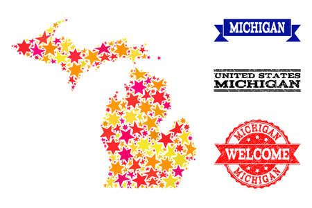Mosaic map of Michigan State designed with colored flat stars, and grunge textured stamps, isolated on an white background. Vector colorful geographic abstraction of map of Michigan State with red,