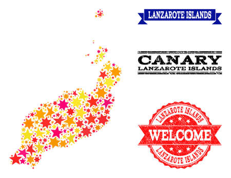 Mosaic map of Lanzarote Islands created with colored flat stars, and grunge textured stamps, isolated on an white background. Vettoriali
