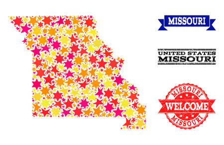 Mosaic map of Missouri State designed with colored flat stars, and grunge textured stamps, isolated on an white background. Vector colored geographic abstraction of map of Missouri State with red, Ilustração