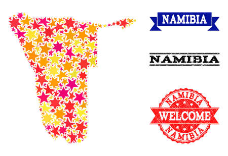 Mosaic map of Namibia formed with colored flat stars, and grunge textured stamps, isolated on an white background. Vector colored geographic abstraction of map of Namibia with red, yellow,