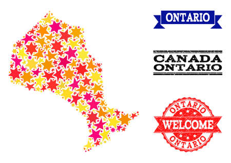 Mosaic map of Ontario Province formed with colored flat stars, and grunge textured stamps, isolated on an white background. Vector bright geographic abstraction of map of Ontario Province with red,