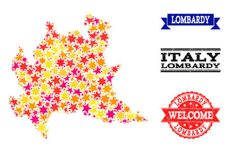 Mosaic map of Lombardy region designed with colored flat stars, and grunge textured stamps, isolated on an white background. Vector bright geographic abstraction of map of Lombardy region with red,