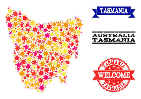 Mosaic map of Tasmania Island composed with colored flat stars, and grunge textured stamps, isolated on an white background. Vector colored geographic abstraction of map of Tasmania Island with red,