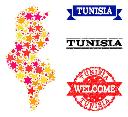 Mosaic map of Tunisia created with colored flat stars, and grunge textured stamps, isolated on an white background. Vector colored geographic abstraction of map of Tunisia with red, yellow,