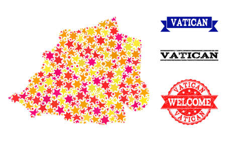 Mosaic map of Vatican composed with colored flat stars, and grunge textured stamps, isolated on an white background. Vector colored geographic abstraction of map of Vatican with red, yellow,  イラスト・ベクター素材