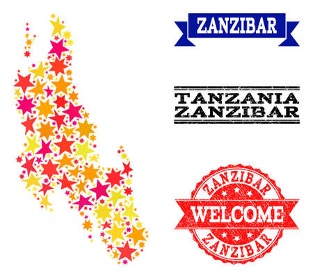 Mosaic map of Zanzibar Island created with colored flat stars, and grunge textured stamps, isolated on an white background. Vector colored geographic abstraction of map of Zanzibar Island with red,