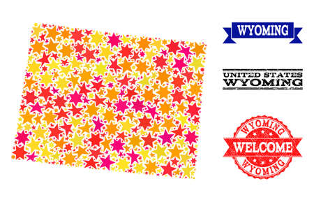 Mosaic map of Wyoming State formed with colored flat stars, and grunge textured stamps, isolated on an white background. Vector colored geographic abstraction of map of Wyoming State with red, yellow,
