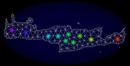 Mesh vector map of Crete Island with glare effect on a dark background. Light spots have bright spectrum colors. Abstract lines, triangles, light spots and points forms map of Crete Island.