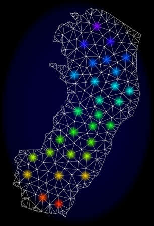 Mesh vector map of Espirito Santo State with glare effect on a dark background. Light spots have bright spectrum colors. Abstract lines, triangles,