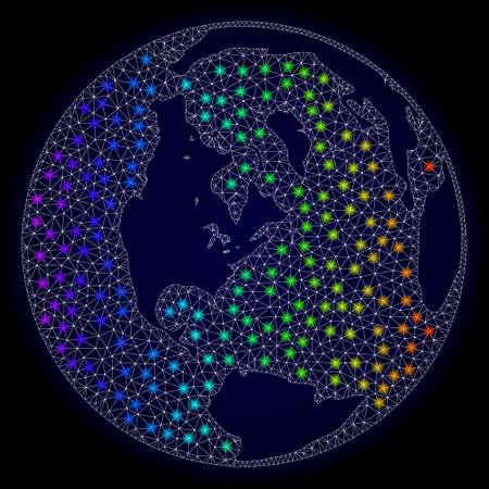Mapa del vector de malla del océano global con efecto de deslumbramiento sobre un fondo oscuro. Los puntos de luz tienen un espectro de colores brillantes. Líneas abstractas, triángulos, puntos de luz y puntos forman un mapa del océano global. Ilustración de vector