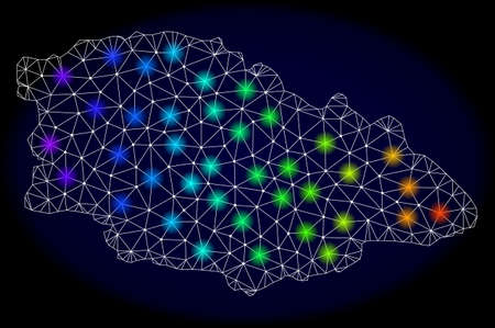 Mesh vector map of Gozo Island with glare effect on a dark background. Light spots have bright spectrum colors. Abstract lines, triangles, light spots and points forms map of Gozo Island.