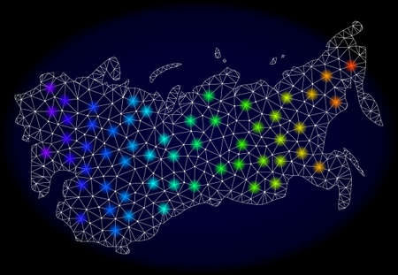 Mesh vector map of USSR with glare effect on a dark background. Light spots have bright spectrum colors. Abstract lines, triangles, light spots and points forms map of USSR. Иллюстрация