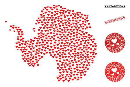 Collage map of Antarctica created with red love hearts, and rubber watermarks for dating. Vector lovely geographic abstraction of map of Antarctica with red amour symbols.