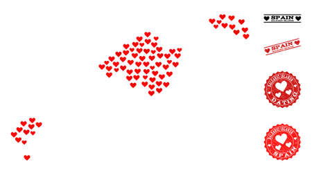 Collage map of Balearic Islands designed with red love hearts, and rubber stamp seals for dating. Vector lovely geographic abstraction of map of Balearic Islands with red amour symbols.