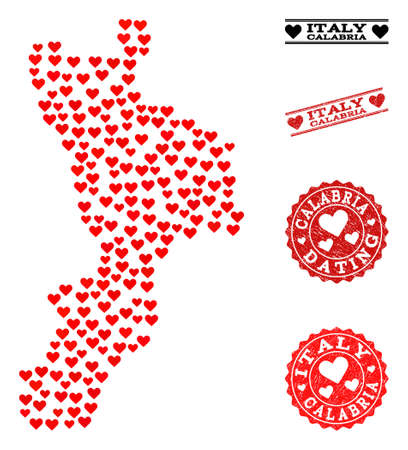 Collage map of Calabria region formed with red love hearts, and rubber watermarks for Valentines day. Vector lovely geographic abstraction of map of Calabria region with red romantic symbols.