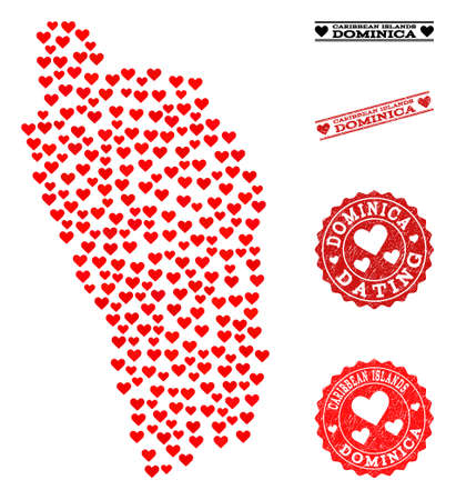 Collage map of Dominica Island formed with red love hearts, and rubber watermarks for Valentines day. Vector lovely geographic abstraction of map of Dominica Island with red romantic symbols.