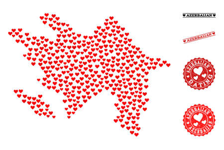 Mosaic map of Azerbaijan created with red love hearts, and grunge stamp seals for Valentines day. Vector lovely geographic abstraction of map of Azerbaijan with red romantic symbols. Illustration