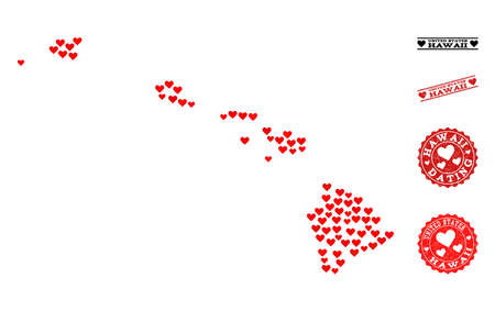 Collage map of Hawaii State composed with red love hearts, and rubber stamp seals for Valentines day. Vector lovely geographic abstraction of map of Hawaii State with red amour symbols. Ilustração
