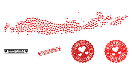 Mosaic map of Indonesia - Flores Islands formed with red love hearts, and rubber stamp seals for dating.