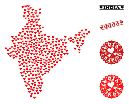 Mosaic map of India composed with red love hearts, and grunge watermarks for dating. Vector lovely geographic abstraction of map of India with red romance symbols. Illustration