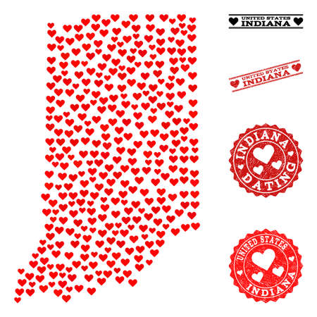 Collage map of Indiana State formed with red love hearts, and grunge stamp seals for Valentines day. Vector lovely geographic abstraction of map of Indiana State with red romantic symbols. Illustration
