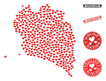 Mosaic map of Ko Pha Ngan composed with red love hearts, and grunge watermarks for dating. Vector lovely geographic abstraction of map of Ko Pha Ngan with red dating symbols.