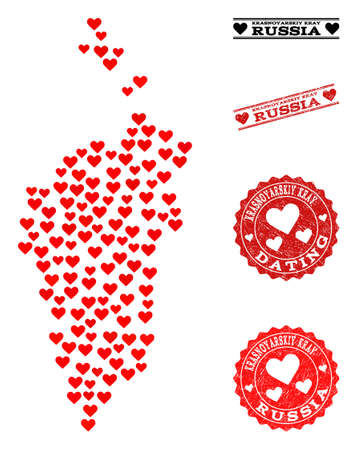 Collage map of Krasnoyarskiy Kray designed with red love hearts, and rubber stamp seals for Valentines day.