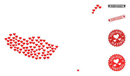 Collage map of Madeira Islands formed with red love hearts, and grunge watermarks for Valentines day. Vector lovely geographic abstraction of map of Madeira Islands with red romantic symbols. Banco de Imagens - 115702916
