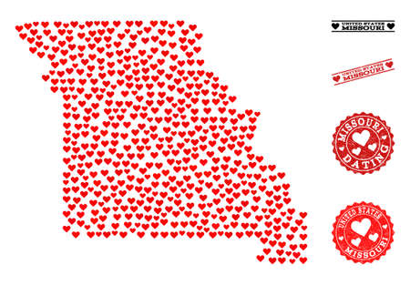 Mosaic map of Missouri State formed with red love hearts, and grunge stamp seals for dating. Vector lovely geographic abstraction of map of Missouri State with red dating symbols.
