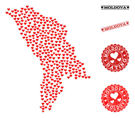 Collage map of Moldova designed with red love hearts, and grunge stamp seals for dating. Vector lovely geographic abstraction of map of Moldova with red romantic symbols.