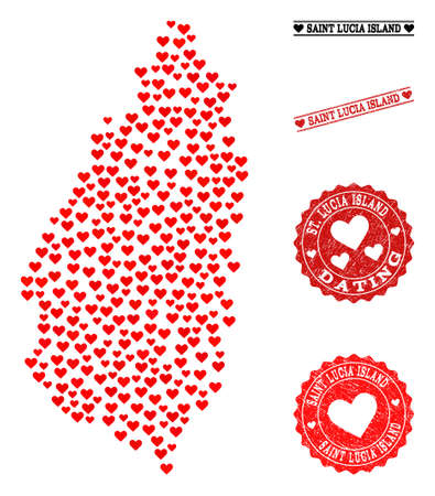 Mosaic map of Saint Lucia Island designed with red love hearts, and rubber watermarks for dating. Vector lovely geographic abstraction of map of Saint Lucia Island with red romance symbols. Illustration
