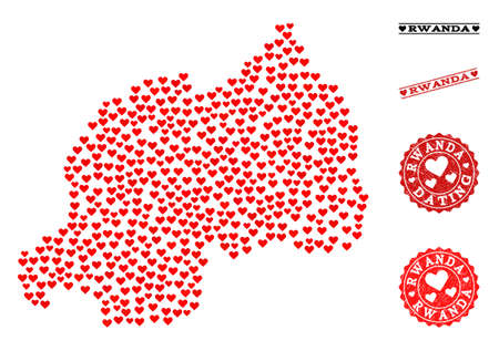 Mosaic map of Rwanda formed with red love hearts, and rubber stamp seals for dating. Vector lovely geographic abstraction of map of Rwanda with red valentine symbols.