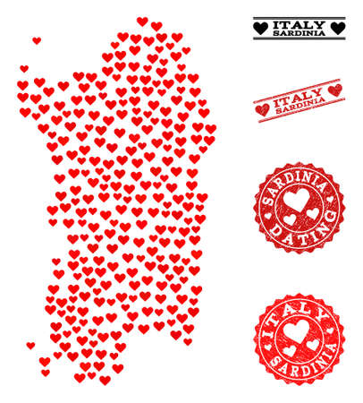 Collage map of Sardinia region composed with red love hearts, and rubber watermarks for Valentines day. Vector lovely geographic abstraction of map of Sardinia region with red amour symbols.