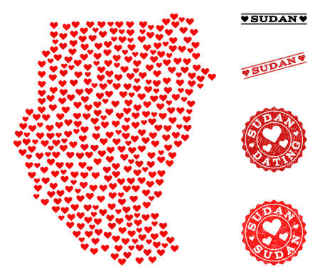 Collage map of Sudan composed with red love hearts, and rubber watermarks for Valentines day. Vector lovely geographic abstraction of map of Sudan with red romantic symbols. Illustration